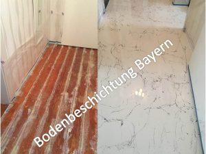 Marmor Boden auf Holzplatten - Bodenbeschichtung Epoxidharz